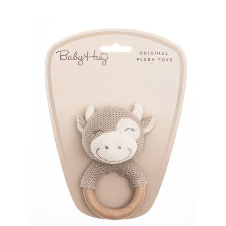 Baby Hug ropotulja kravica, pletena z lesenim obročem, 13 cm