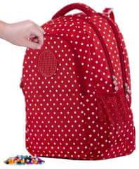 Pixie Crew Študentský batoh červený s bielymi bodkami