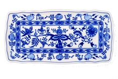 ČESKÝ PORCELÁN Podnos štvorhranný 33 x 16 cm, dekor cibulák