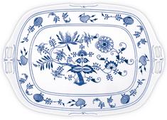 ČESKÝ PORCELÁN Podnos štvorhranný s ušami 48 x 33 cm, dekor cibulák