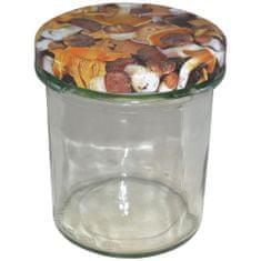 Marex Trade Zavařovací sklenice TWIST s víčkem hřiby a etiketou, 6 x 346 ml