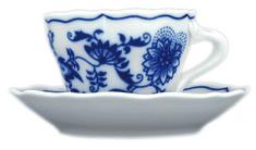 ČESKÝ PORCELÁN Šálka s podšálkou 0,08l / Ø11 cm, dekor cibulák