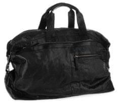 Spikes&Sparrow Černá cestovní kožená taška SPIKES & SPARROW
