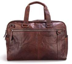 Spikes&Sparrow Hnědá cestovní kožená taška SPIKES & SPARROW