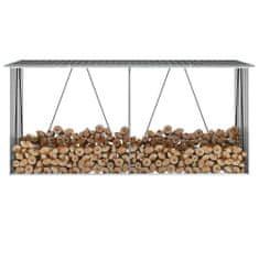 Záhradná kôlňa na drevo galvanizovaná oceľ 330x84x152 cm antracitová
