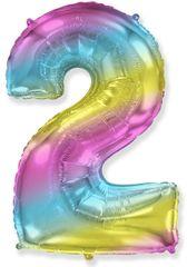 Fóliový balón číslice 2 - duhový - rainbow, 115cm
