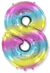 Fóliový balón číslice 8 - duhový - rainbow, 115cm