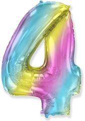 Fóliový balón číslice 4 - duhový - rainbow, 115cm