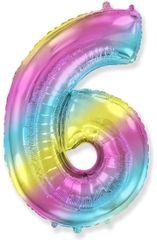 Fóliový balón číslice 6 - duhový - rainbow, 115cm