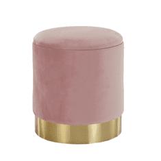 TEMPO KONDELA Taburet, ružová Velvet látka/gold chróm-zlatá, ANIZA