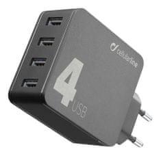 CellularLine Multipower 4, kućni punjač, 4x USB, 42 W, crna