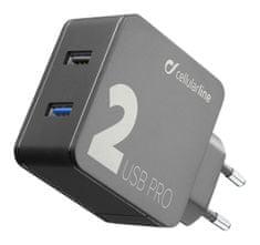 CellularLine Multipower 2 PRO, kućni punjač, 2x USB, 30 W, crna