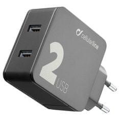 CellularLine Multipower 2, kućni punjač, 2x USB, 24 W, crna