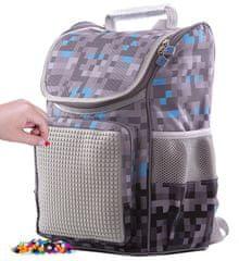 Pixie Crew Minecraft školska torba, sivo-plava