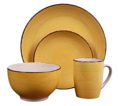 EXCELLENT Jídelní sada talířů VALENCIA kamenina 16 ks žlutá