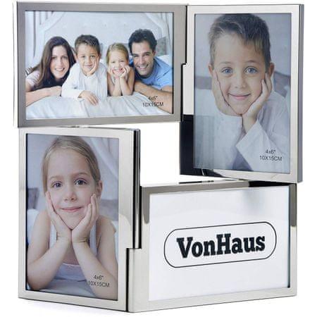 VonHaus foto okvir, za 4 slike, 10 x 15 cm, srebrn