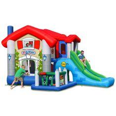 Happy Hop Skákací hrad Velký dům 9 v 1 se skluzavkou a bazénkem s barevnými míčky