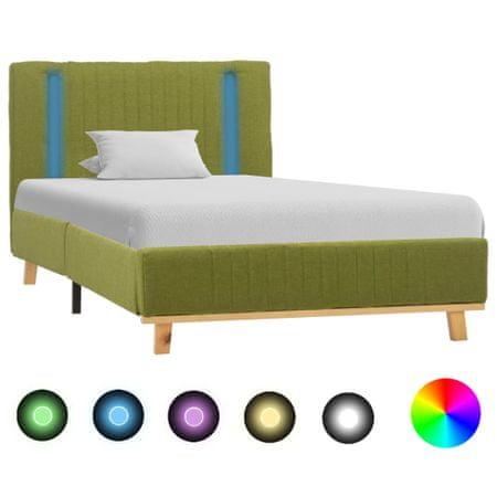 shumee zöld szövetkárpitozású LED-es ágykeret 100 x 200 cm