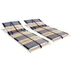Lamelové posteľné rošty 2 ks so 42 lamelami a 7 zónami 90x200 cm