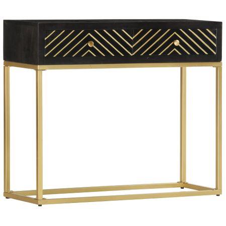 shumee fekete és aranyszínű tömör mangófa tálalóasztal 90 x 30 x 75 cm