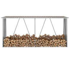 Záhradná kôlňa na drevo galvanizovaná oceľ 330x84x152 cm hnedá