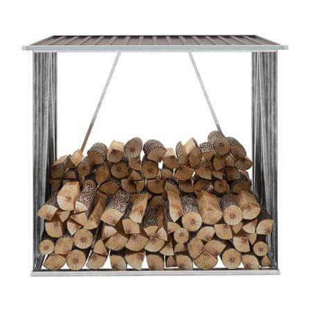 shumee Vrtna lopa za drva pocinkano jeklo 163x83x154 cm rjava