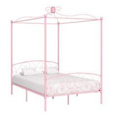 shumee Rám postele s nebesy růžový kovový 120 x 200 cm