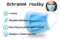 DahicanCZ Kvalitní ochranné jednorázové třívstvé roušky z netkané textilie 20 ks, doprava zdarma