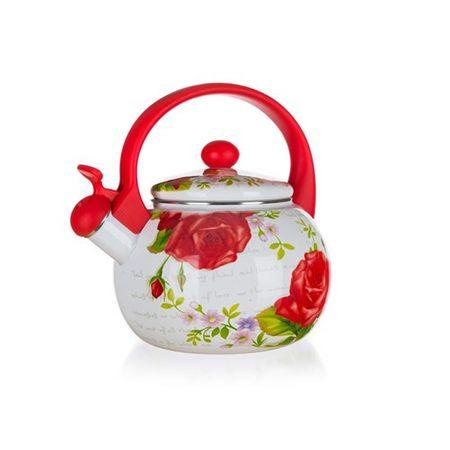 Banquet Rose zviždajući čajnik, emajliran, 2,2 l