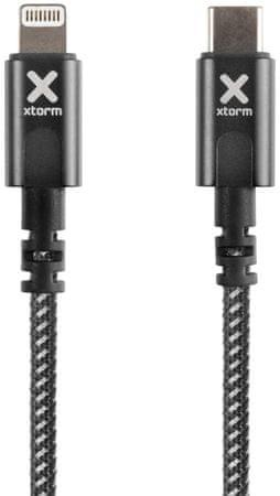 Xtorm kabel Nylon USB-C to Lightning Cable CX2031, 1 m, črn