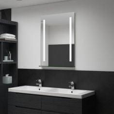 shumee Koupelnové nástěnné zrcadlo s LED světlem a policí 60 x 80 cm