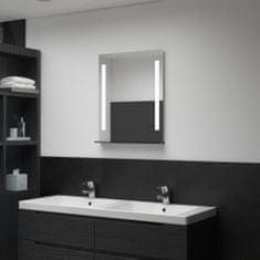 shumee Koupelnové nástěnné zrcadlo s LED světlem a policí 50 x 70 cm