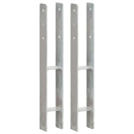 shumee 2 db ezüstszínű horganyzott acél kerítéshorgony 8 x 6 x 60 cm