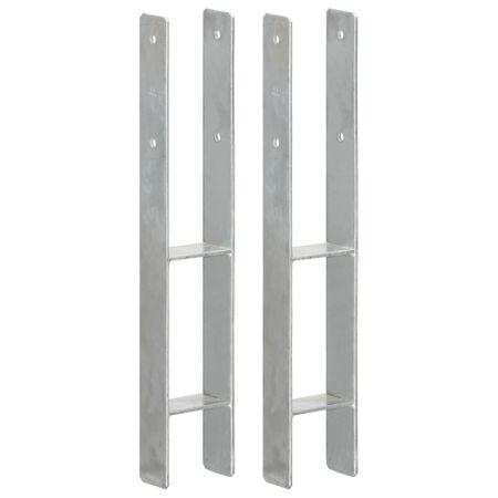 shumee 2 db ezüstszínű horganyzott acél kerítéshorgony 9 x 6 x 60 cm