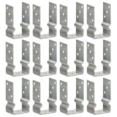Plotové kotvy 12 ks stříbrné 8 x 6 x 15 cm pozinkovaná ocel