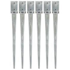 Kotvící hroty 6 ks stříbrné 9 x 9 x 90 cm pozinkovaná ocel