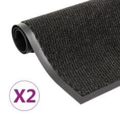 shumee 2 db fekete négyszögletes bolyhos szennyfogó szőnyeg 40 x 60 cm