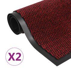 shumee 2 db piros négyszögletes bolyhos szennyfogó szőnyeg 90 x 150 cm