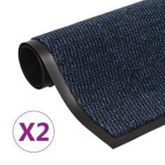 shumee 2 db kék négyszögletes bolyhos szennyfogó szőnyeg 120 x 180 cm
