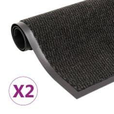 shumee 2 db fekete négyszögletes bolyhos szennyfogó szőnyeg 90x150 cm