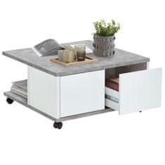 FMD Mobilní konferenční stolek 70x70x35,5 cm betonová a lesklá bílá