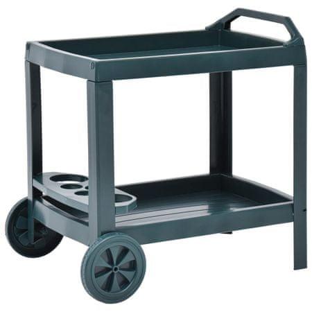 Wózek na napoje, zielony, 69x53x72 cm, plastikowy