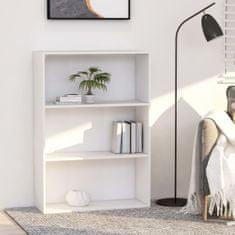 shumee 3patrová knihovna bílá 80 x 30 x 114 cm dřevotříska