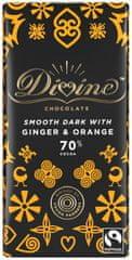 DIVINE Divine hořká čokoláda se zázvorem a pomerančem, 70 % kakaa, 90g