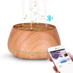 """GOLDSUN Aroma Difuzér """"Slack 400ml"""" osvěžovač a zvlhčovač vzduchu Music & Bluetooth - Světlé dřevo"""