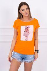 Kesi Tričko s našitou grafikou, oranžová