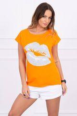 Kesi Tričko s potiskem rtů, oranžová