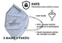 Homeguard zaštitna maska N95/KN95, FFP2, EN 149:2001+A1:2009, 3 komada