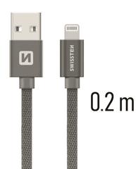 SWISSTEN DATA CABLE USB / LIGHTNING TEXTILE 0,2M GREY (71523102)