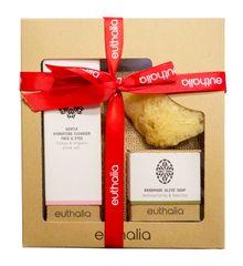 Euthalia Cosmetics Dárkový balíček - jemný hydratační odličovač na obličej 100ml, olivové mýdlo a mořská houba EUTHALIA